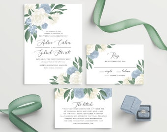 Dusty Blue and White Floral Wedding Invitation Template