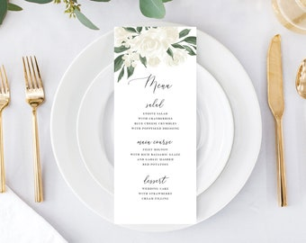 White Floral and Greenery Wedding Menu Template