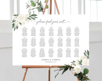 White Floral Greenery Wedding Seating Chart Template