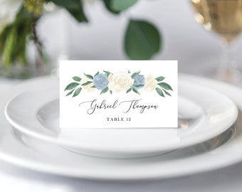 Dusty Blue and White Floral Place Cards Template