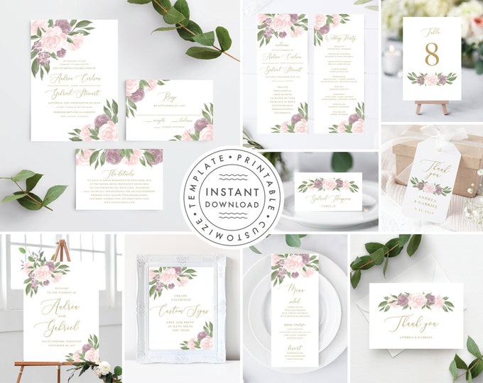 Featured listing image: Blush Pink and Mauve Wedding Invitation Set, Wedding Invitation Template Bundle, Wedding Invitation Kit, Wedding Invitations