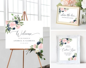 Welcome To Our Wedding Sign, Wedding Sign Bundle Wedding Hashtag Sign, Wedding Signs Navy and Blush Pink, 137V1WED