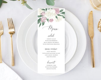 Dusty Rose and White Floral Wedding Menu Template