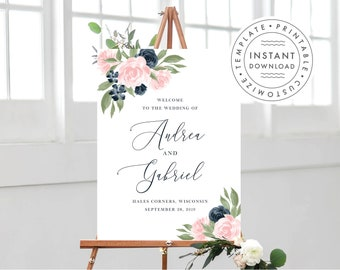 Navy and Blush Pink Wedding Welcome Sign Template 137V1WED