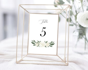 White Floral Greenery Table Numbers Template