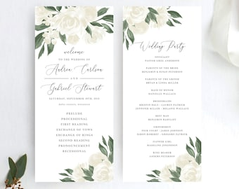 White Floral Greenery Wedding Program Template
