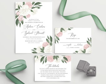Blush Pink and White Floral Wedding Invitation Template