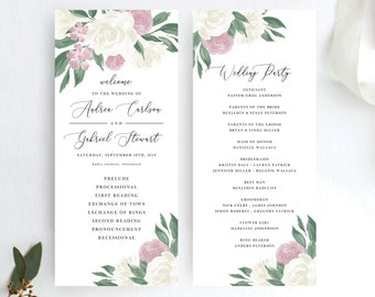 Dusty Rose and White Floral Wedding Program Template