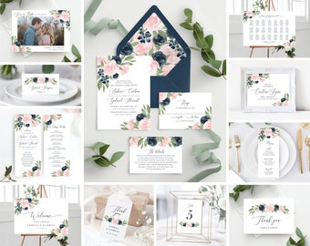 Instant Download Blush Pink and Navy Template Bundle, Wedding Invitation Set, Envelope Liners, Program, Menu, Welcome Sign, and More!