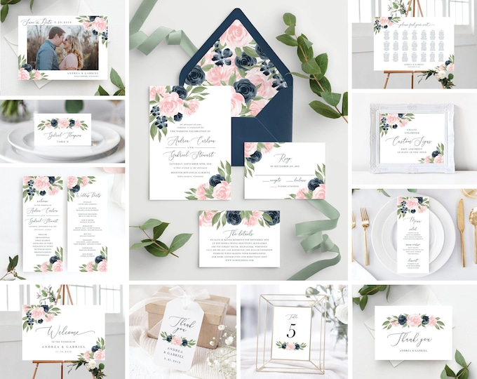 Featured listing image: Instant Download Blush Pink and Navy Template Bundle, Wedding Invitation Set, Envelope Liners, Program, Menu, Welcome Sign, and More!