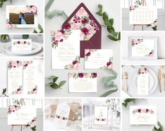 Instant Download Wedding Bundle Includes Wedding Invitation Template, Save the Date, Envelope Liners, Programs, Welcome Sign, and More!
