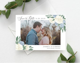 Dusty Blue and White Floral Save the Date Template