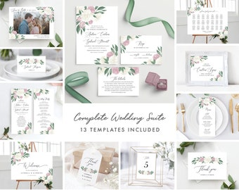 Dusty Rose and White Floral Complete Wedding Template Bundle