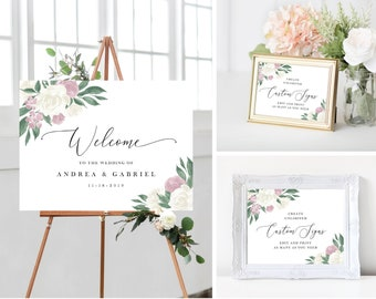 Dusty Rose and White Floral Wedding Sign Template Bundle