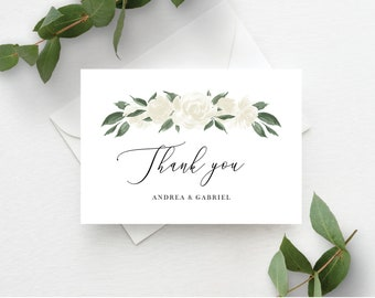 White Floral Greenery Thank You Card Template