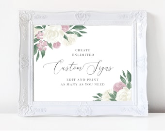 Dusty Rose and White Floral Wedding Sign Template