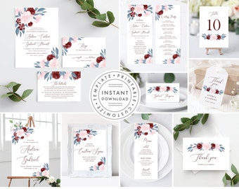 Dusty Blue and Burgundy Floral Wedding Invitation Template Bundle