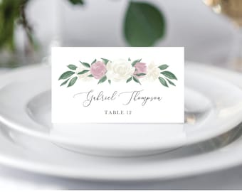 Dusty Rose and White Floral Wedding Place Cards Template