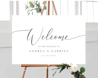Wedding Welcome Sign Template, Minimal Calligraphy White and Black, Fully Editable Colors and Wording with Templett, 137V18