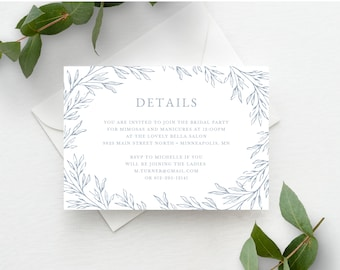 Bridal Shower Wedding Details Card Template, Minimal Leaf, Fully Editable Colors and Wording with Templett, Olivia in Dusty Blue