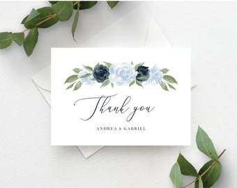 Dusty Blue and Navy Floral Thank You Card Template