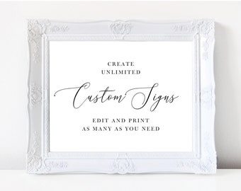 Wedding Sign Template, Minimal Wedding Signs, Printable Reception or Ceremony Signs, Fully Editable Colors and Wording with Templett, 137V18