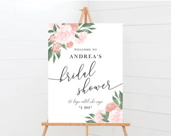 Pink and Coral Floral Bridal Shower Welcome Sign Template