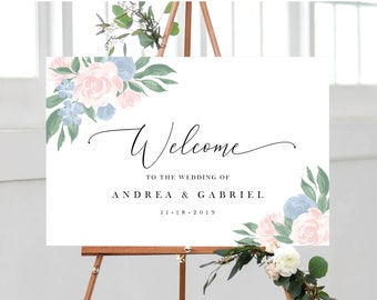 Dusty Blue and Pink Floral Welcome Sign Template