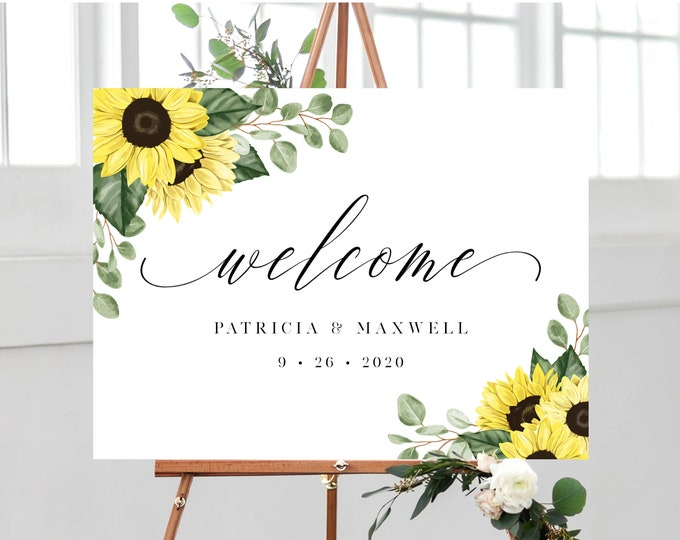 Featured listing image: Sunflower Welcome Sign Template, 18x24, 24x36, 100% Editable with Templett Instant Download, 144