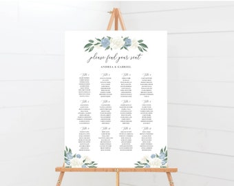 Dusty Blue and White Floral Wedding Seating Chart Template