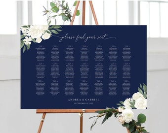 Wedding Seating Chart Template with Navy and White Floral Design, Fully Editable Colors and Wording with Templett, 137V17