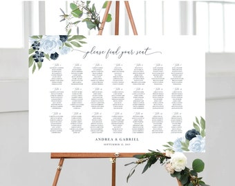 Dusty Blue and Navy Floral Wedding Seating Chart Template