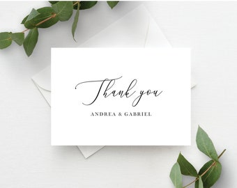 Wedding Thank You Cards Template, Minimal Wedding Black and White Calligraphy, Fully Editable Colors and Wording with Templett, 137V18