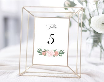 Pink and Coral Floral Table Numbers Template