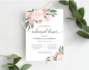 Pink and Coral Floral Wedding Rehearsal Dinner Invitation Template