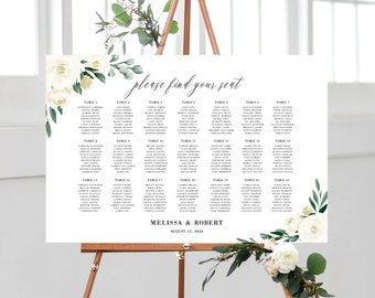 Wedding Seating Chart Template, Greenery and White Floral, Fully Editable Colors and Wording with Templett, 139V1