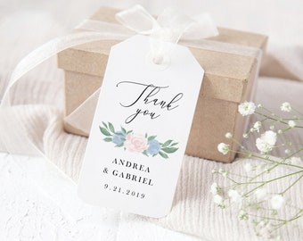 Dusty Blue and Pink Floral Favor Gift Tags Template