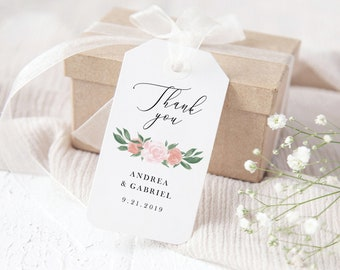 Pink and Coral Floral Wedding Favor Tags Template