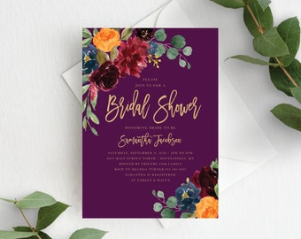 Fall Bridal Shower Invitation Template Fall Bridal Invite Autumn Floral Fall Wedding Shower, Orange Burgundy Marsala Purple, 140V4