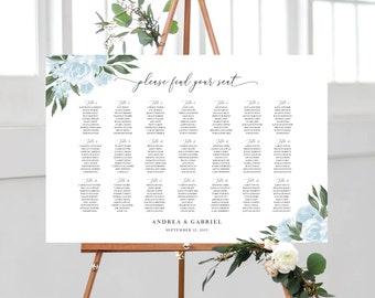 Wedding Seating Chart Template with Greenery and Dusty Blue Floral Design, Fully Editable Colors and Wording with Templett, 137V15