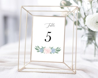 Dusty Blue and Pink Floral Table Numbers Template