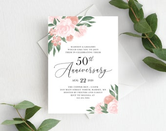 Pink and Coral Floral 50th Wedding Anniversary Invitation Template