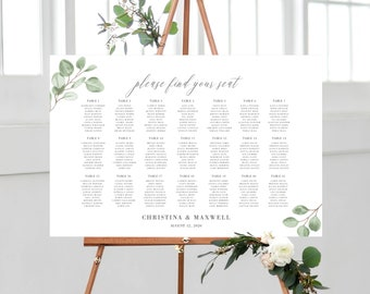 Eucalyptus Greenery Seating Chart Wedding Template, 139V6