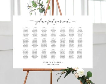 Wedding Seating Chart Template, Minimal Calligraphy White and Black, Fully Editable Colors and Wording with Templett, 137V18