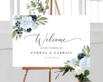 Dusty Blue and Navy Floral Wedding Welcome Sign Template