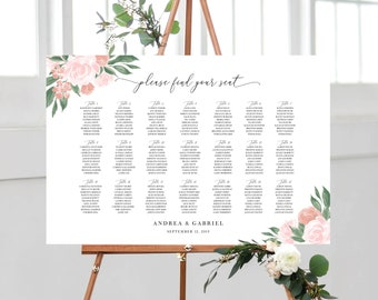 Pink and Coral Floral Seating Chart Template