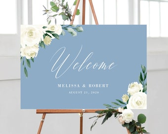 Wedding Welcome Sign Template, Dusty Blue Greenery White Floral Design, Fully Editable Colors and Wording with Templett, 139V4
