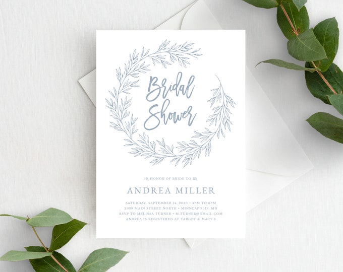 Featured listing image: Bridal Shower Invitation Template, Elegant Calligraphy Wreath, Fully Editable Colors and Wording with Templett, Olivia in Dusty Blue