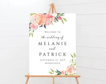 Welcome To Our Wedding Sign Template with Coral and Pink Greenery Floral Design, Fully Editable Colors and Wording with Templett