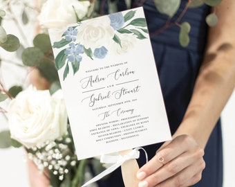 Dusty Blue and White Floral Program Fan Template